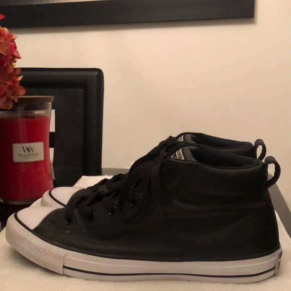 CONVERSE ALL STAR LEATHER MED TOP SHOES MENS S 9.5